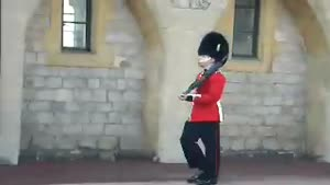 British guard throws up during shift
