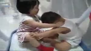Asian toddlers making out