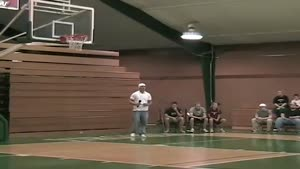 Idiot gets stuck in basketball net