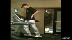 Skater Wipes Out Off Treadmill