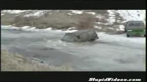 Jeep busts through ice