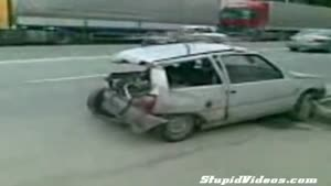Wrecked car goes for a ride