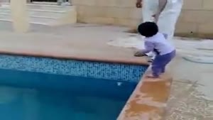 Arab kid get's swimming lessons