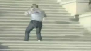 King at falling of stairs