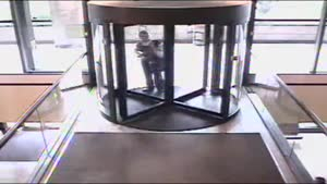 Fat Guy Breaks Revolving Door