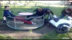 Motorcycle-Powered Carousel Fail