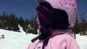 15 Months Old Girl Snowboarding