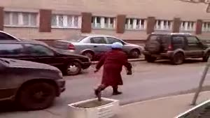 Russian Granny Stops Traffic For Tirade