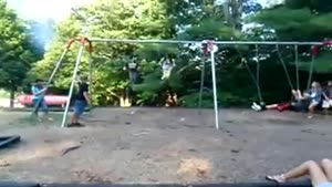 Chick Face Plants Off Swing!