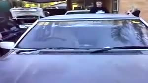 Dude Smashes Car Windshield With His Head