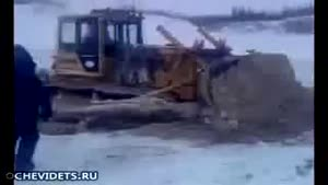 Bulldozer on ice accident