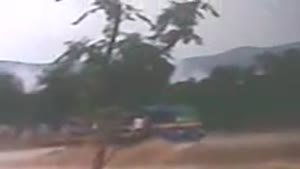 Crossing Flood By Truck Goes Terribly Wrong