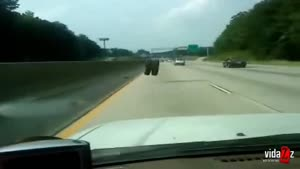 Jumping Tire On The Highway