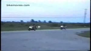 Bikers collide during drag race