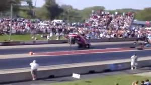 Car flips over at a dragrace