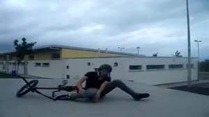 Painful BMX tail whip fail
