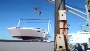 Expensive Boat Falls From Crane