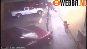 Lucky Kid After Car Crashes Into Poles