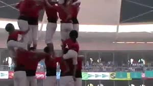 Human Tower Collapses