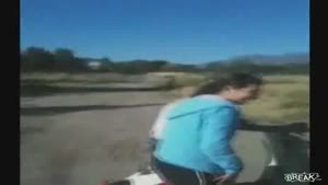 Chick Gets Launched From Her Scooter