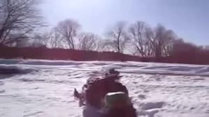 Another Double Snowmobile Fail