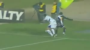 Brazilian Soccer Player Gets Knocked Down Sairs During Play