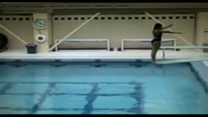 Female Diver Slams Face On Diving Board
