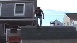 Roof Jump Onto Bar Stool Ends Painfully