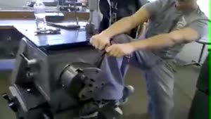 Guy Gets His Leg Stuck In Machine