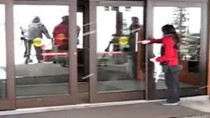 Chick Tries To Clean Sliding Doors