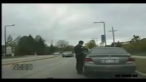 Driver Backs Over Cop Car