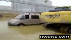 Crossing A Flood In Russia