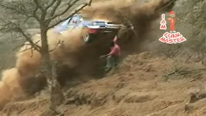 Rally Car Scares Spectator