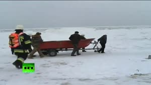 Firefighters Save Deer On Drifting Ice