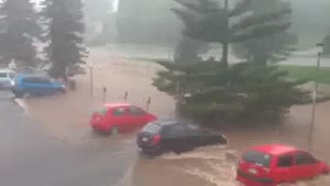 Australian Flood Washes Away Cars
