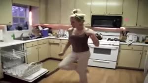 Girl Dancing In The Kitchen Wipe Out