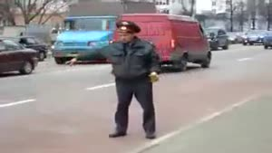 Drunk Russian Police Man In Moscow