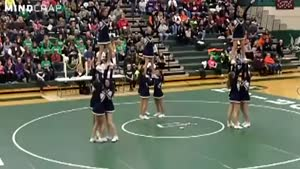 Cheerleader Backflip Goes Wrong