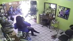 Armed Robbery At Hair Salon (CCTV)