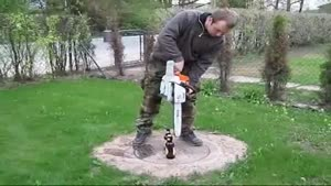 Opening A Beer Bottle With A Chain Saw