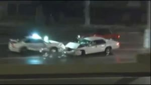 Cop Car Slammed By Speeder