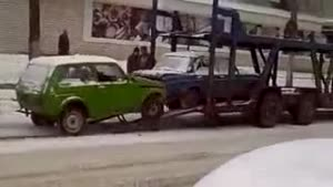 Loading A Car In Russia