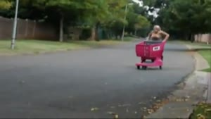 Blonde Shopping Trolley Stunt Fail
