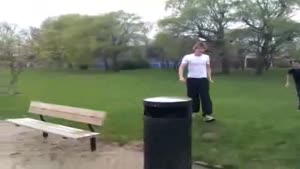 Trash Can Jumping Attempt Gone Wrong