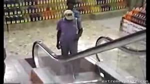 Old Man Doesn't Understand The Escalator