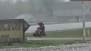 Mowing Your Lawn In A Hail Storm