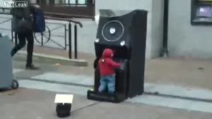 Baby DJ Performs On The Street
