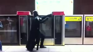 Darth Fader Uses His Powers On The Subway Train