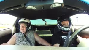 Scared Woman In A Racing Car