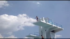 Bellyflop From High Diving Board